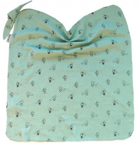 letná deka Pinkie Muslin Green Mouse