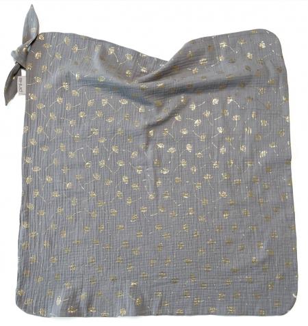 letná deka Muslin Flower Grey