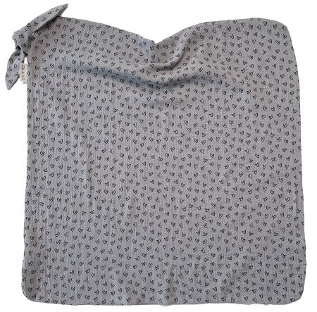 letná deka Pinkie Muslin Grey Heart