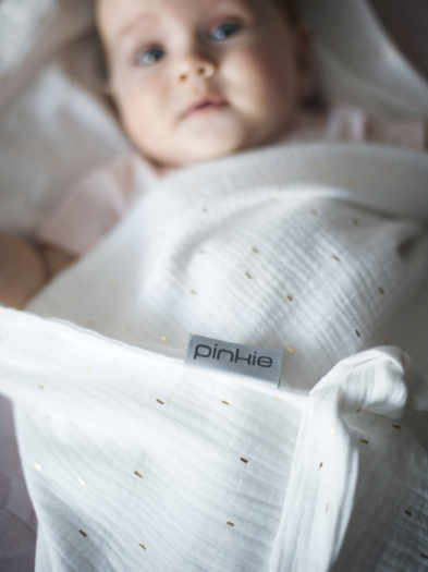 letná deka Pinkie Muslin White
